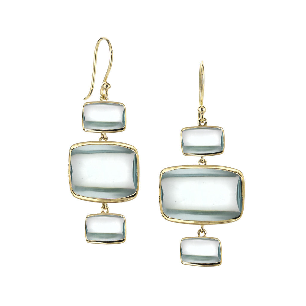 *SPECIAL ORDER* Triple Beveled Deco Earrings in Teal Hydroquartz in 18kt Gold - USE CODE SPECIALORDER50 and only pay a 50% deposit of $447.50