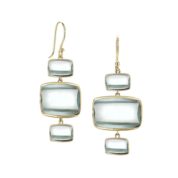 Triple Beveled Deco Earrings in Teal Hydroquartz in 18kt Gold - Special Order