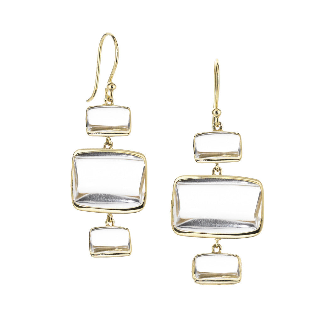 18kt gold Triple Beveled Deco Earring in White Quartz - USE CODE SPRING30 FOR AN EXTRA 30% OFF