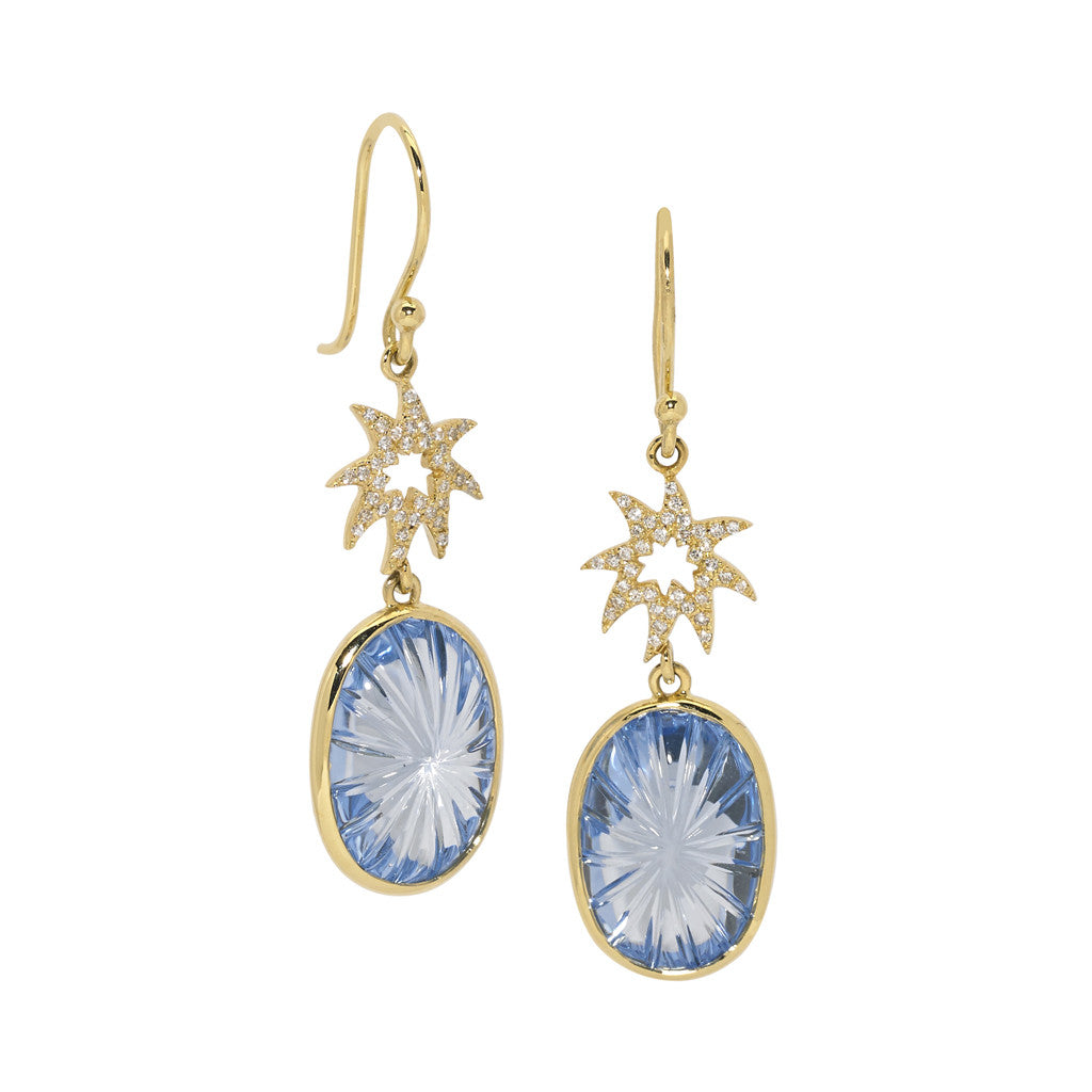 Silhouette Hope Star Earrings in Swiss Blue Topaz - SALE