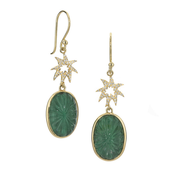 Silhouette Hope Star Earrings in White Quartz and Malachite - USE CODE HOORAY50 FOR AN EXTRA 50% OFF