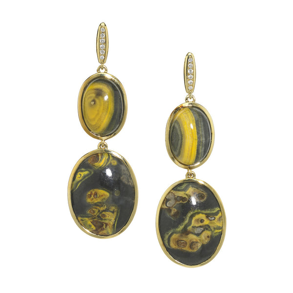 18kt Gold and Diamond Earrings in Bumblebee Agate - USE CODE HOORAY50 FOR AN EXTRA 50% OFF
