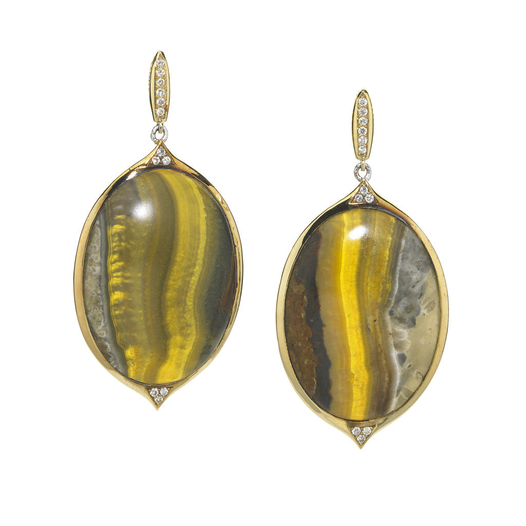 18kt Gold Earrings in Bumblebee Agate and Diamonds - USE CODE HOORAY50 FOR AN EXTRA 50% OFF