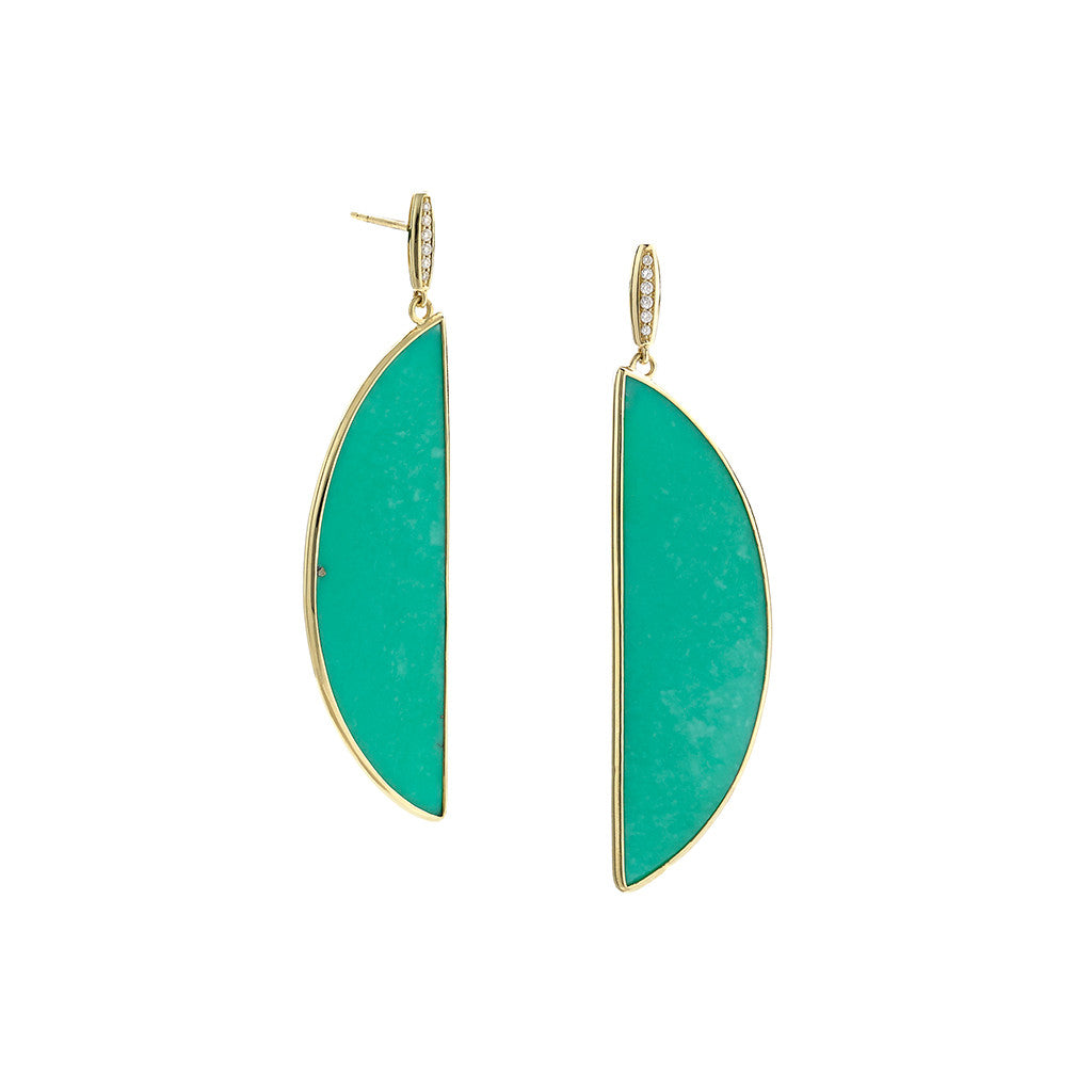 Kingman Mine Turquoise Half Moon Earrings on Diamond Post in 18kt Gold - Special Order