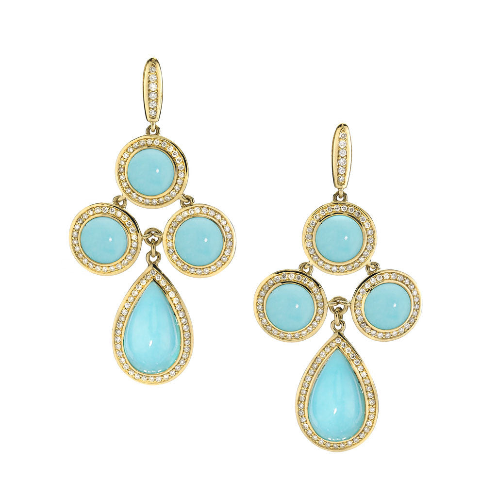 *SPECIAL ORDER* Diamond Audrey Chandelier Earrings in Kingman Mine Turquoise in 18kt Gold - USE CODE SPECIALORDER50 and only pay a 50% deposit of $2125