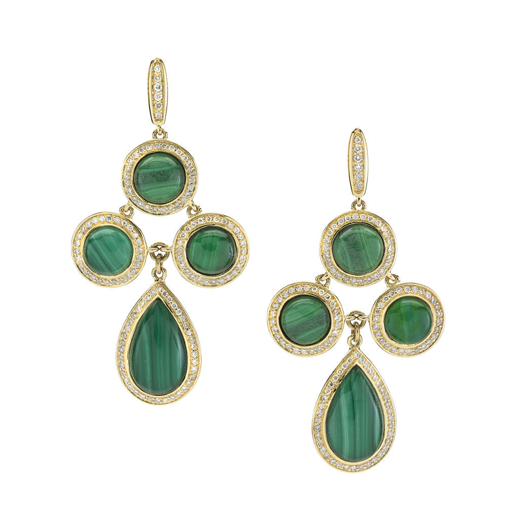 *SPECIAL ORDER* Diamond Audrey Chandelier Earrings in Malachite in 14kt- or 18kt-Gold - USE CODE SPECIALORDER50 and only pay a 50% deposit of $2125 for the 14kt gold version