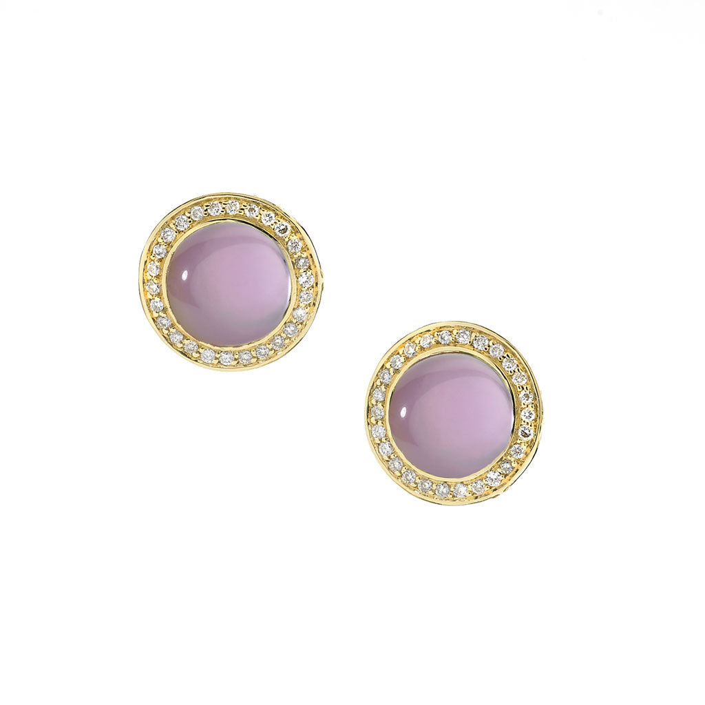 Diamond Audrey Button Earrings in Created Amethyst over Mother of Pearl - 18kt Gold - Special Order