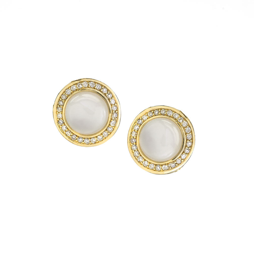 Diamond Audrey Button Earrings in Mother of Pearl in 18kt Gold - Special Order