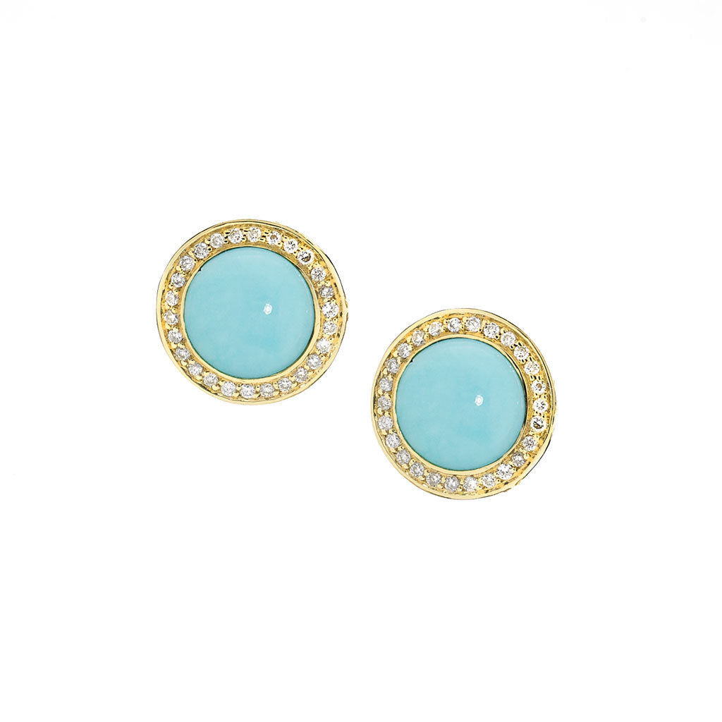 Diamond Audrey Button Earrings in Turquoise in 18kt Gold - Special Order