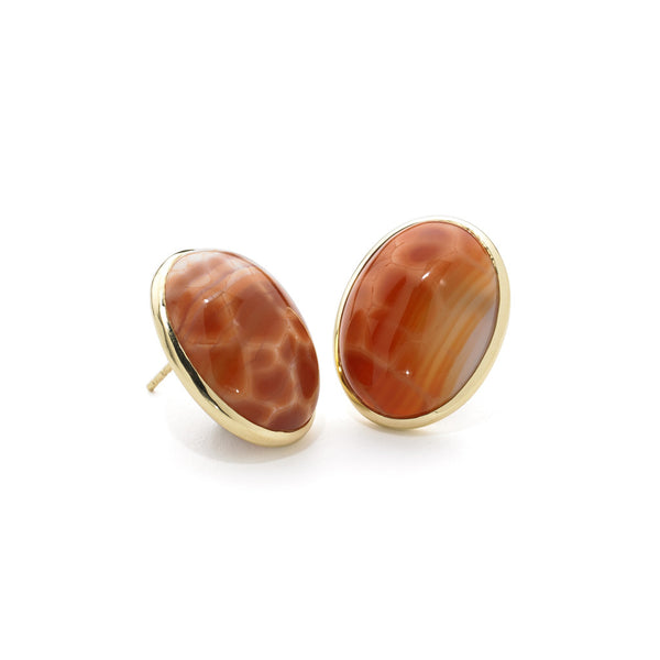 18kt Gold Earrings in Snakeskin Agate Post Earrings - USE CODE HOORAY50 FOR AN EXTRA 50% OFF
