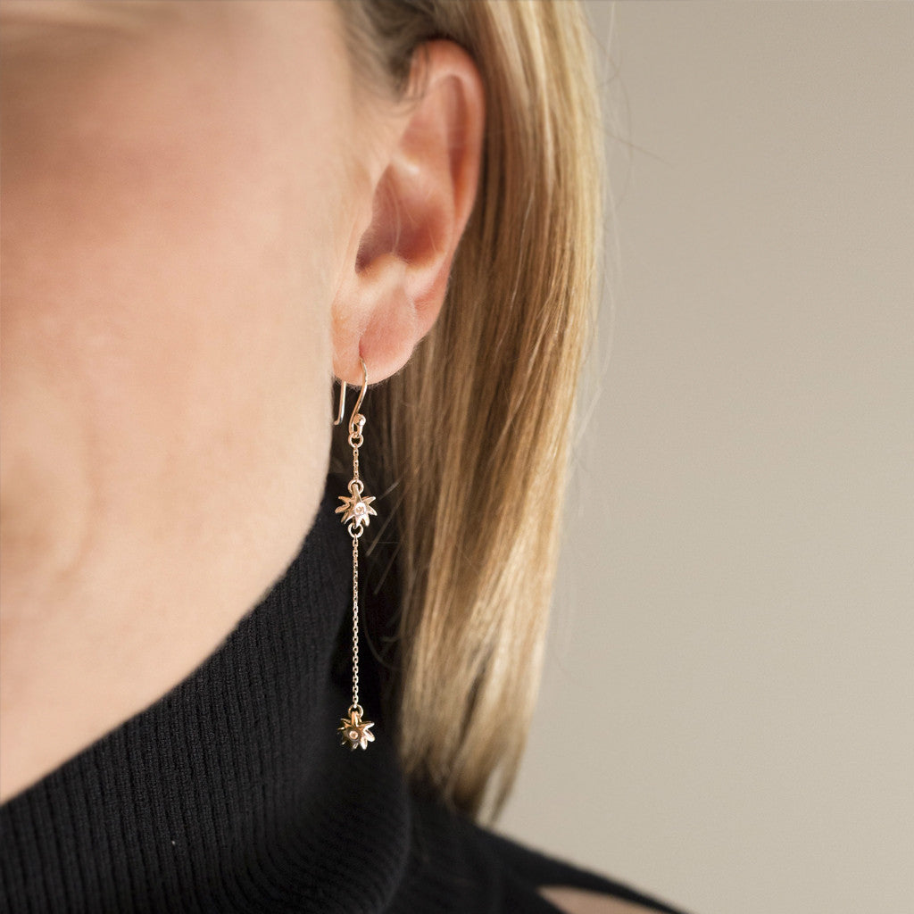 Double Wish Earrings in 18kt Gold & Diamonds - USE CODE THEEND50 TO BUY FOR $519