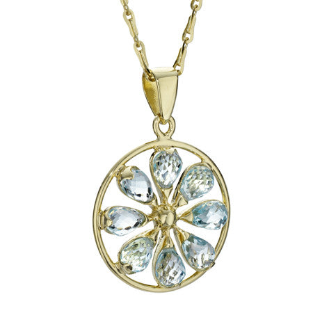 Blue Topaz Pinwheel Necklace in 18kt Gold