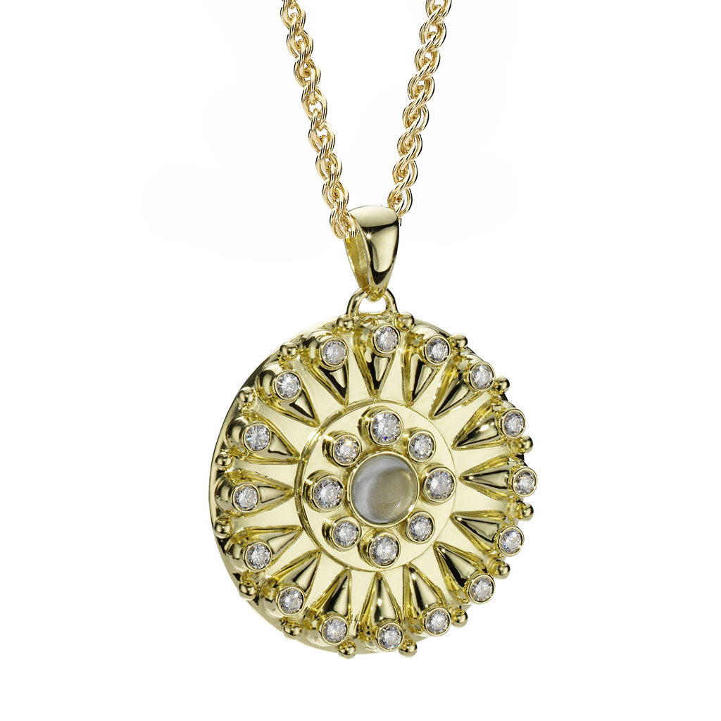 Goddess Sundial Pendant in Diamonds & Aquamarine in 18kt Gold - Special Order