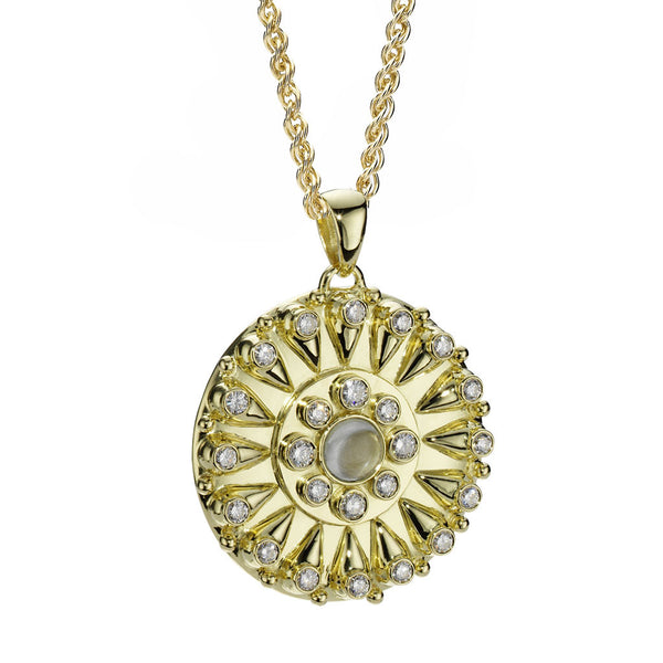 Goddess Sundial Pendant in Diamonds & Aquamarine in 18kt Gold