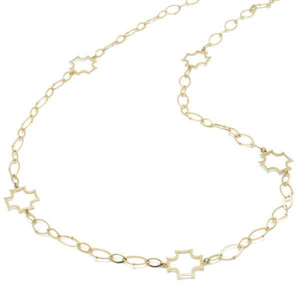 18kt Gold Marquis and Maltese Chain Necklace