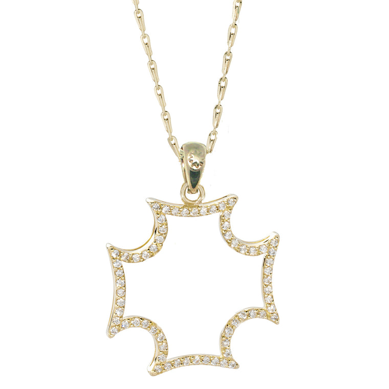 *SPECIAL ORDER* 14kt Gold Maltese Silhouette Pendant Necklace in your CHOICE of White Sapphires or Diamonds - USE CODE SPECIALORDER50 and only pay a 50% deposit starting at $498