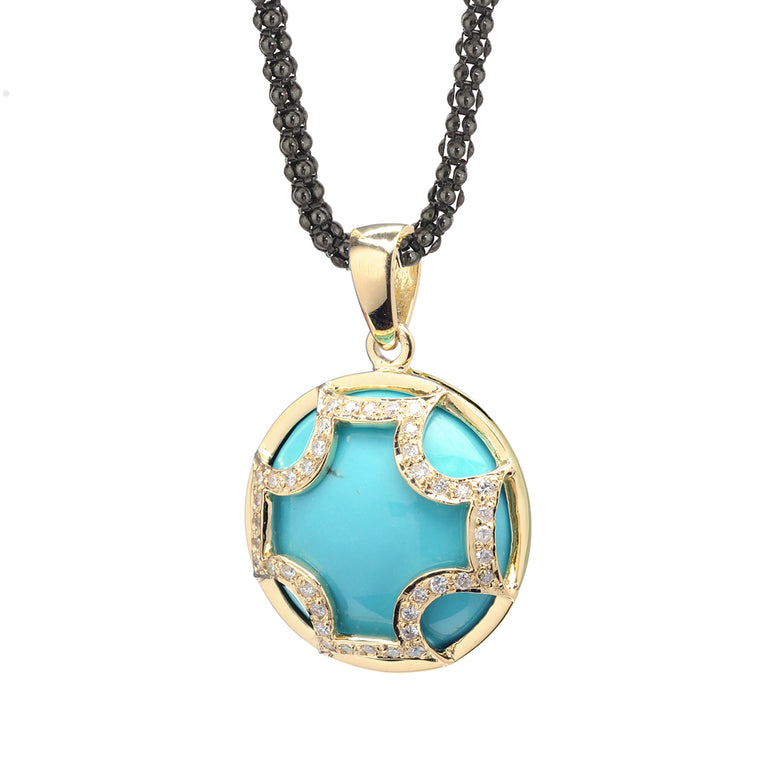 Maltese Cross Necklace in Kingman Mine Turquoise & Diamonds in 18kt Yellow Gold *TAKE 25% OFF WITH CODE MALTESE25, $1196 AFTER CODE