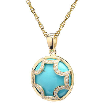 Diamond Maltese Cross Turquoise Necklace - 18kt Gold - USE CODE SPRING30 FOR AN EXTRA 30% OFF