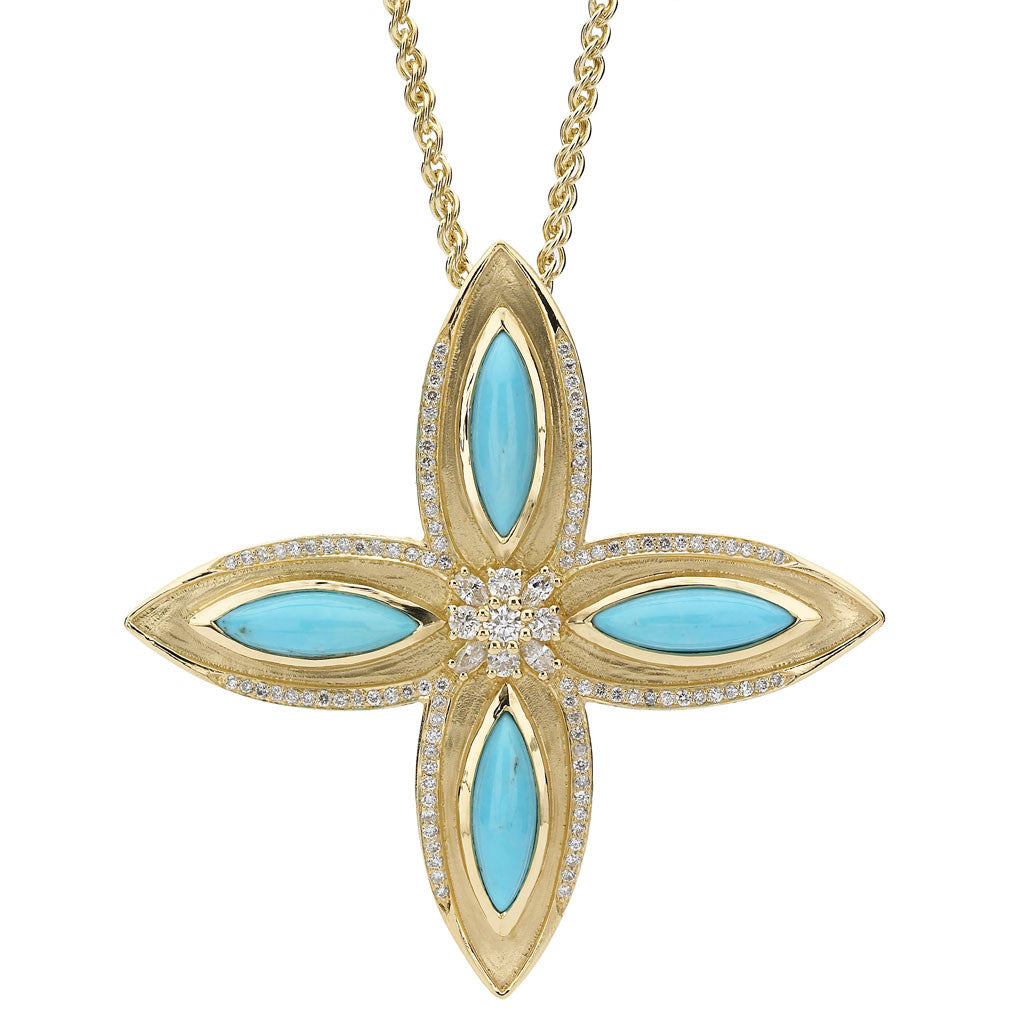 Drew Leaf Pendant in Turquoise and Diamonds in 18kt Gold