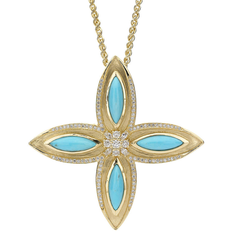 Drew Leaf Pendant in Turquoise and Diamonds in 18kt Gold - Special Order