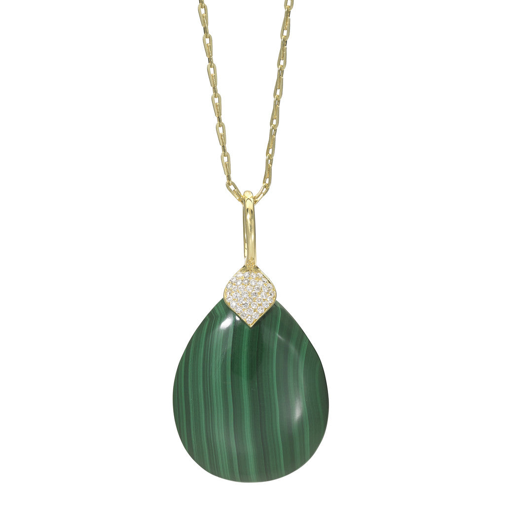 Eliza Teardrop Pendant in Malachite- 18kt Gold - USE CODE HOORAY50 FOR 50% OFF