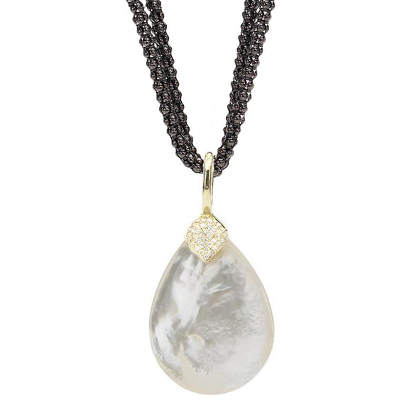 *SPECIAL ORDER* Eliza Pendant in Mother of Pearl & Diamond - USE CODE SPECIALORDER50 and only pay a 50% deposit starting at $950 for the 14kt Gold Pendant