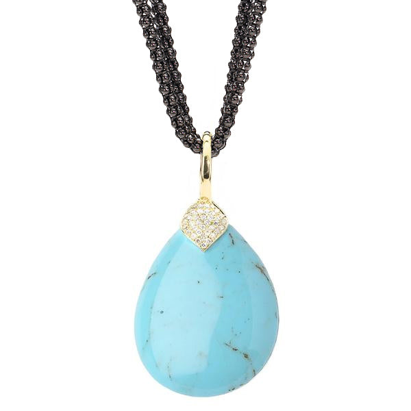 *SPECIAL ORDER* Eliza Teardrop Necklace in Kingman Mine Turquoise in 14kt or 18kt Gold - USE CODE SPECIALORDER50 and only pay a 50% deposit of $975 for the 14kt version