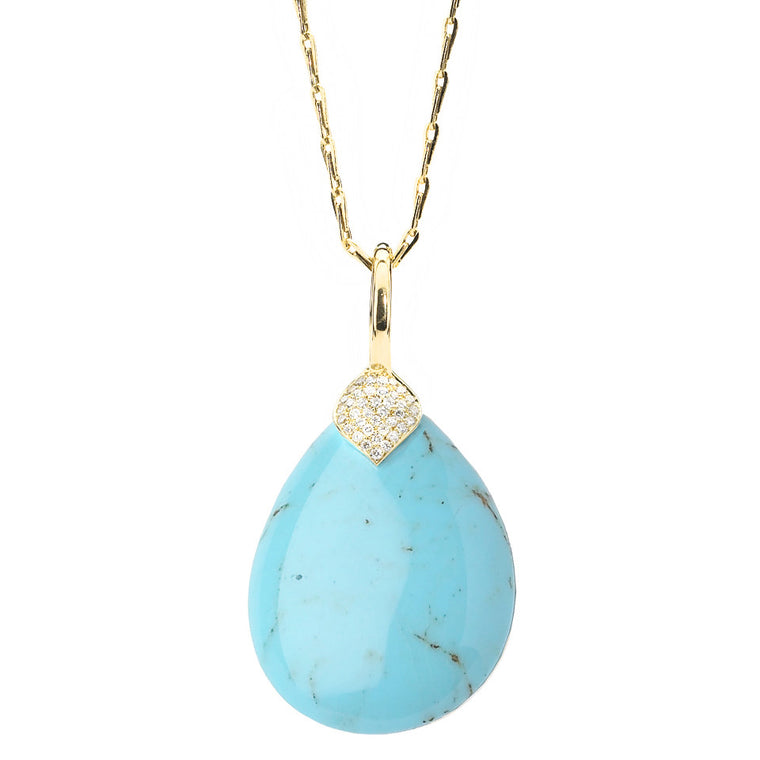 *SPECIAL ORDER* Eliza Teardrop Necklace in Kingman Mine Turquoise in 18kt Gold - USE CODE SPECIALORDER50 and only pay a 50% deposit of $1225