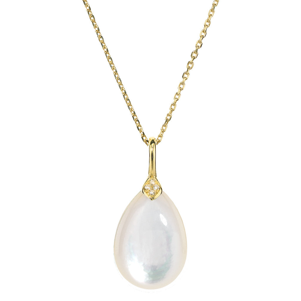 Gold Eliza Droplet Necklace in Mother of Pearl - USE CODE HOORAY50 FOR 50% OFF