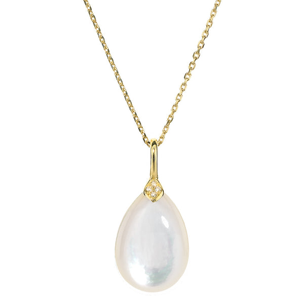 Gold Eliza Droplet Necklace in Mother of Pearl - Newly Back in Stock