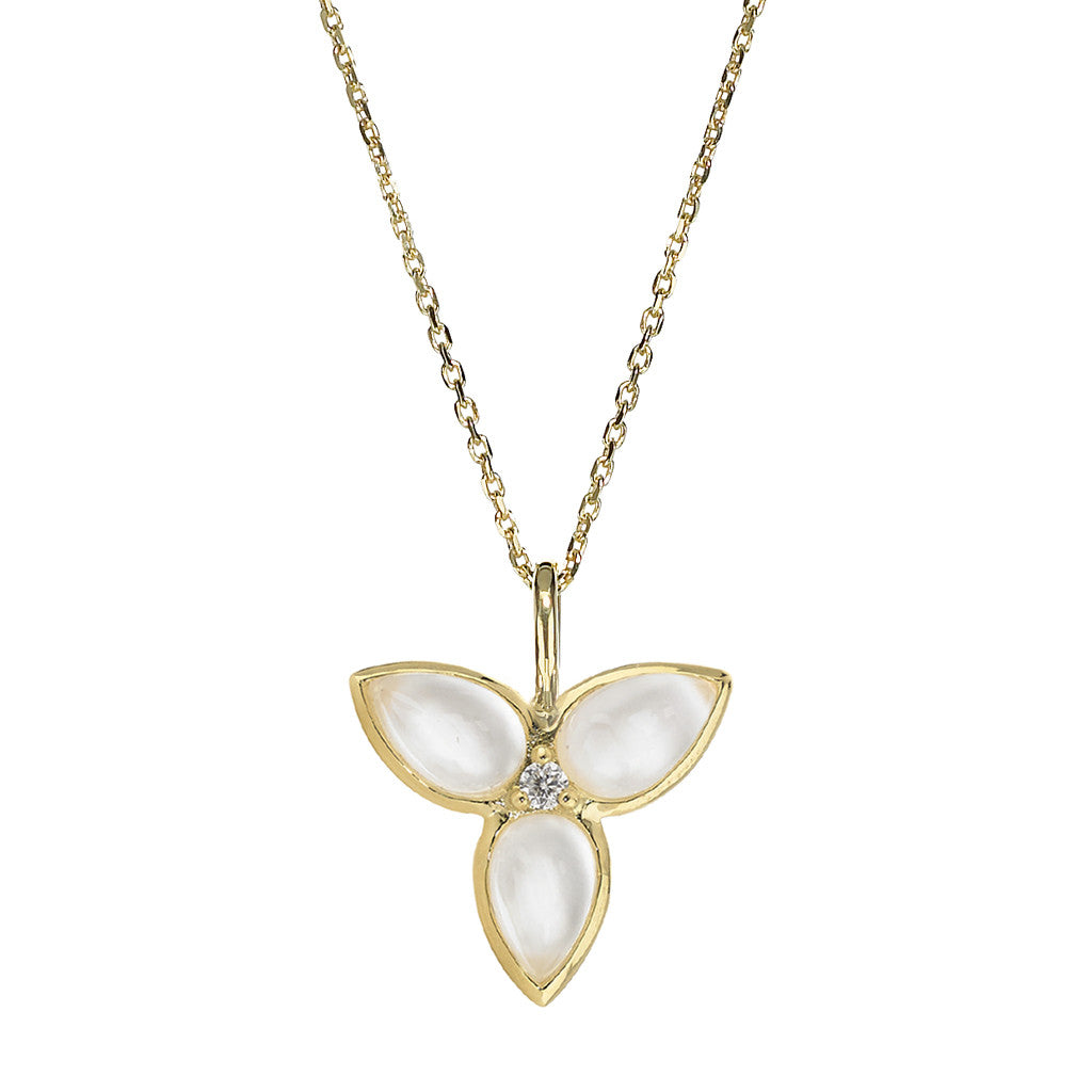 Mariposa in Flight Necklace in Mother of Pearl in 14kt or 18kt Gold - USE CODE SPECIALORDER50 and only pay a 50% deposit of $347.50 for the 14kt version