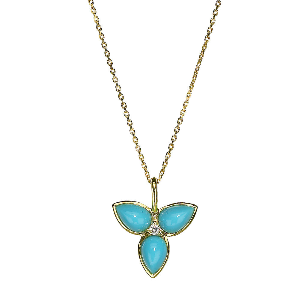 *SPECIAL ORDER* Mini Mariposa Pendant in Turquoise in 14kt or 18kt Gold - USE CODE SPECIALORDER50 and only pay a 50% deposit of $347.50