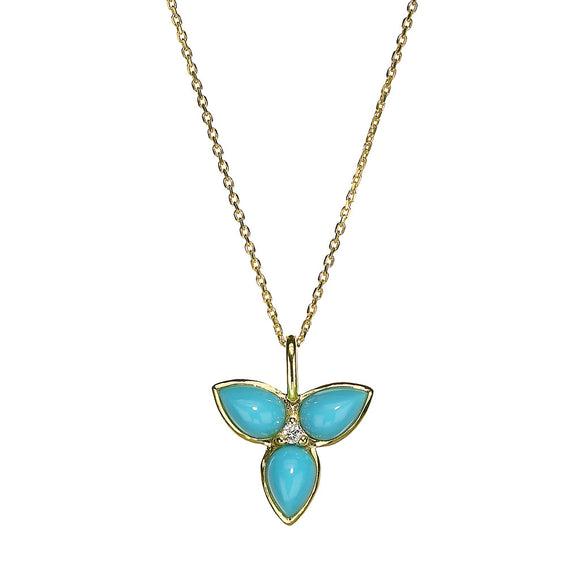 Mini Mariposa Pendant in Turquoise in 18kt Gold - Special Order
