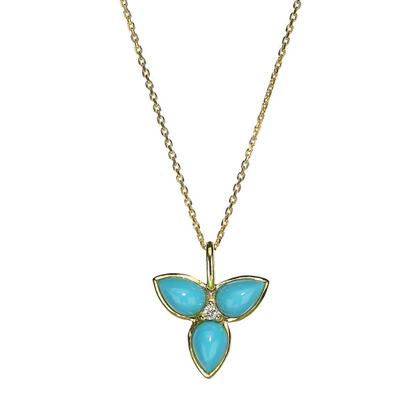 Mini Mariposa Pendant in Turquoise - 18kt Gold - USE CODE FESTIVE30 FOR 30% OFF
