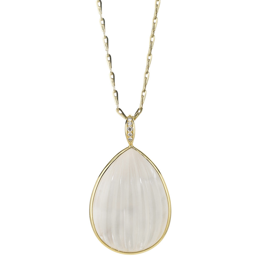 Soleil Sundrop Pendant in Milky Quartz Over Mother of Pearl - 18kt Gold - USE CODE HOORAY50 FOR 50% OFF
