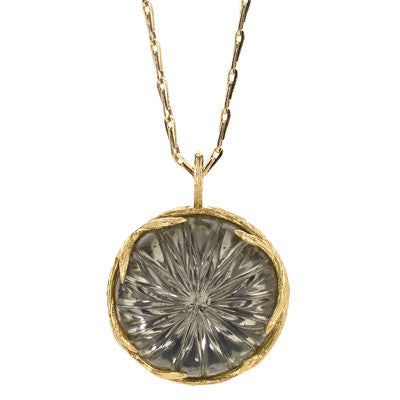 Bird's Nest Necklace in White Quartz over Pyrite - 18kt Gold - USE CODE HOORAY50 FOR AN EXTRA 50% OFF