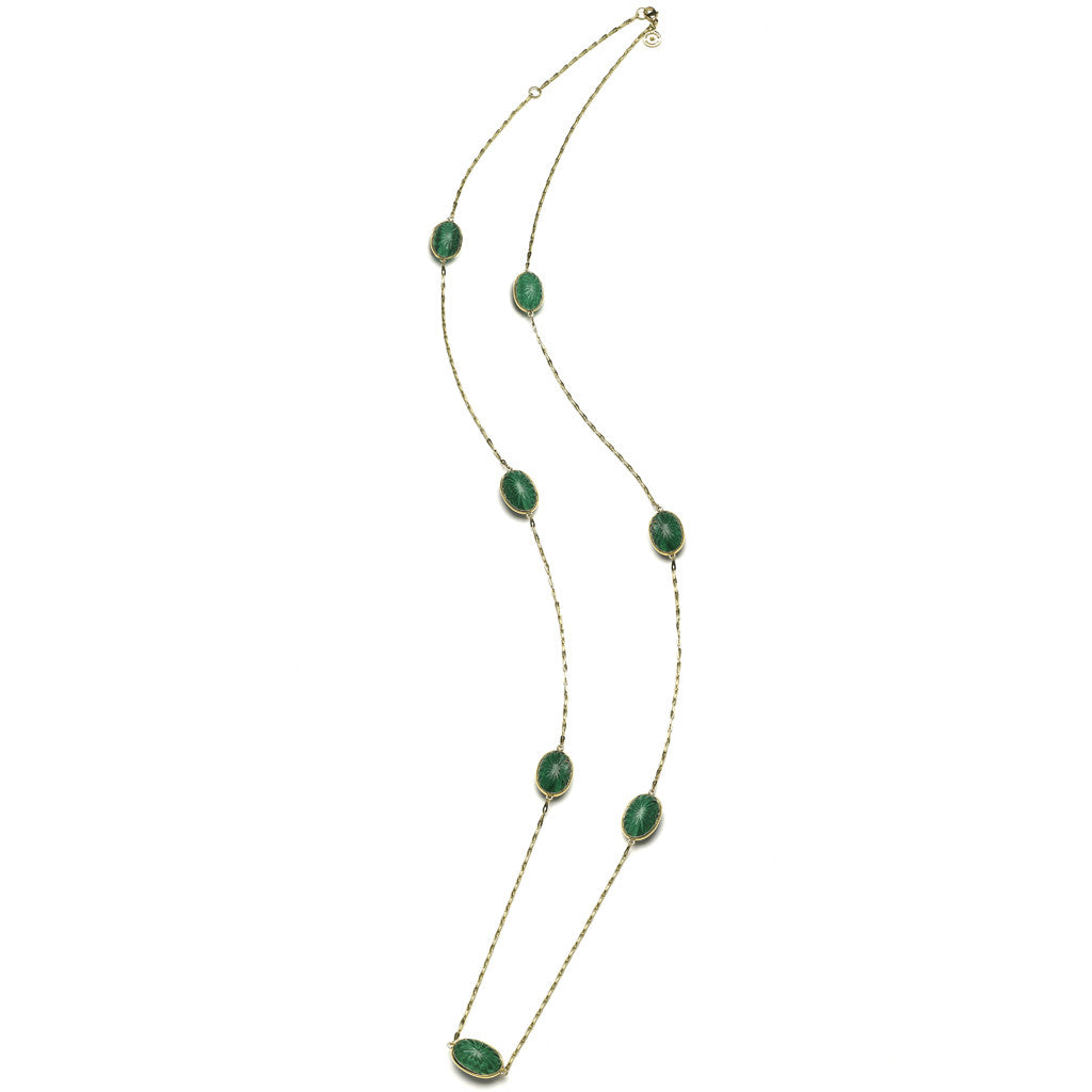 "36"" Soleil Station & Chain Necklace with White Quartz over Malachite - 18kt Gold - USE CODE HOORAY50 FOR AN EXTRA 50% OFF"