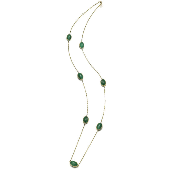 "36"" Soleil Station & Chain Necklace with White Quartz over Malachite - 18kt Gold - PRICE IS $939 WHEN YOU USE CODE HOORAY50 FOR AN EXTRA 50% OFF"