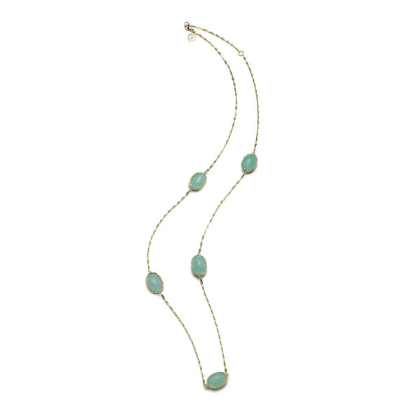 "28"" Soleil Station Chain in Turquoise - 18kt Gold"