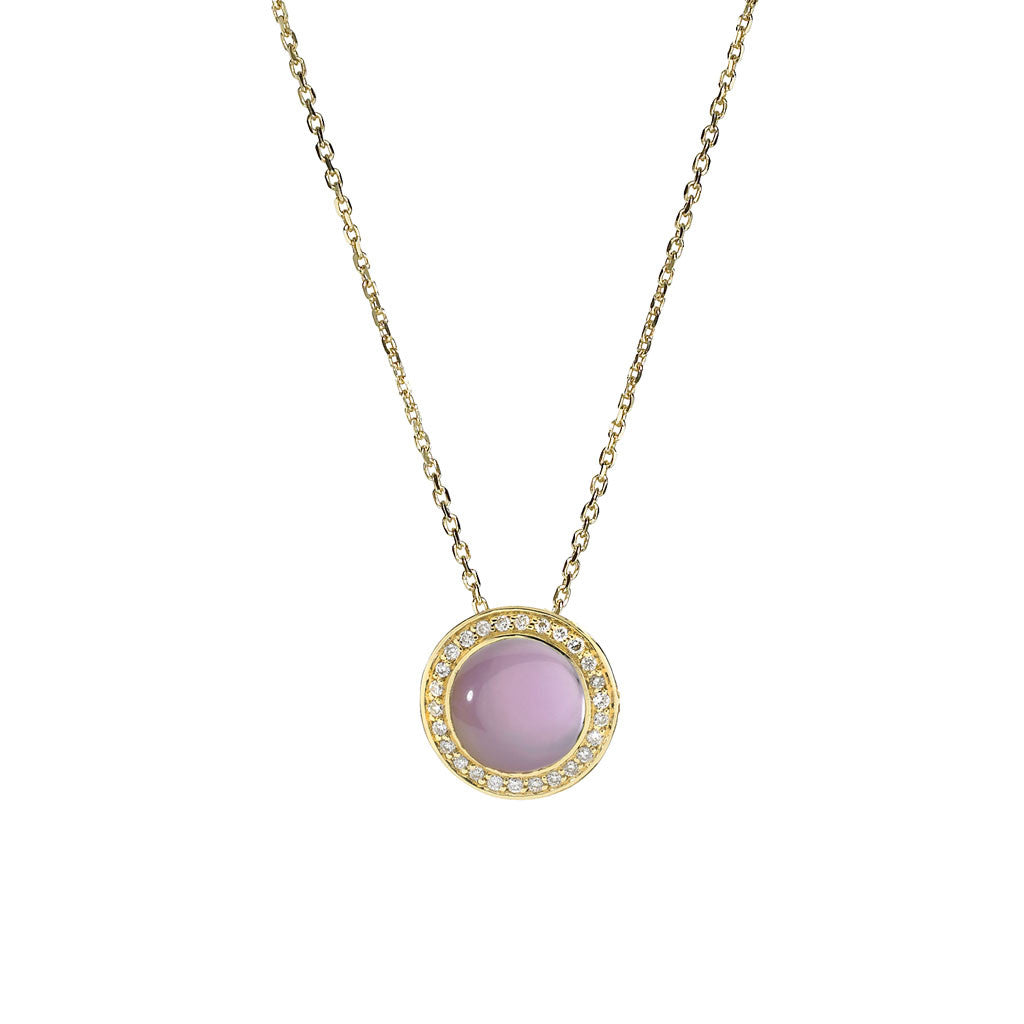Diamond Audrey Button Pendant in Created Amethyst over Mother of Pearl in 18kt Gold