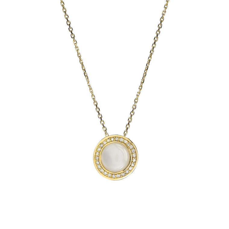 Diamond Audrey Button Pendant in Mother of Pearl in 18kt Gold