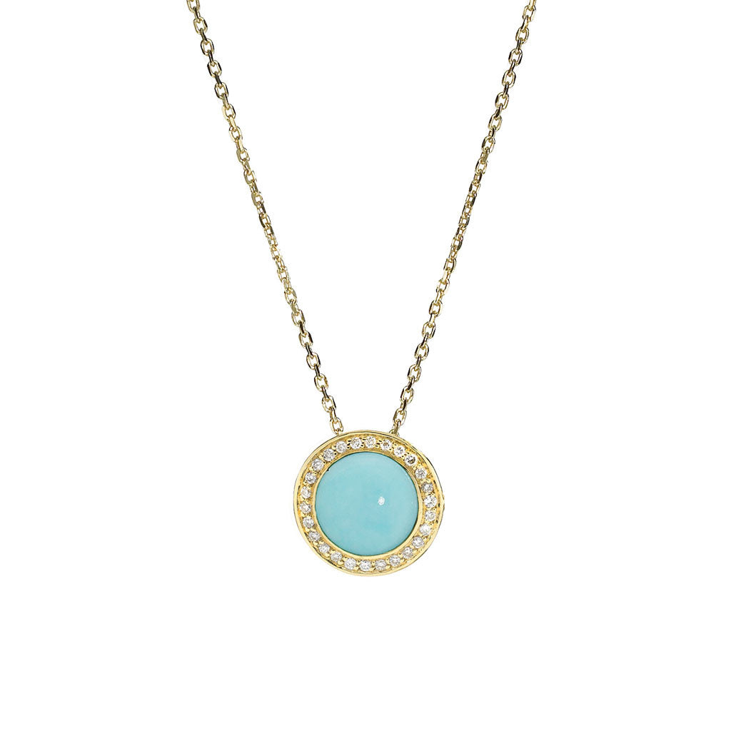 Diamond Audrey Button Pendant in Turquoise in 18kt Gold - USE CODE THEEND50 TO BUY FOR $497.50