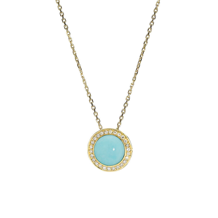 Diamond Audrey Button Pendant in Turquoise in 18kt Gold