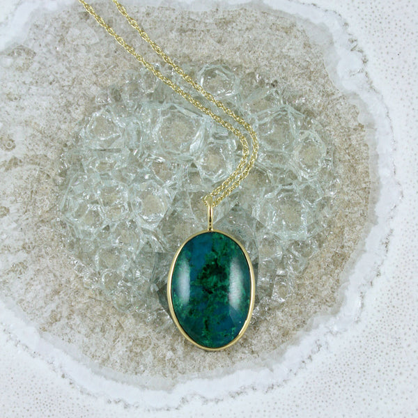 One of a Kind Chrysocolla Necklace - 18kt Gold - USE HOORAY50 FOR AN EXTRA 50% OFF
