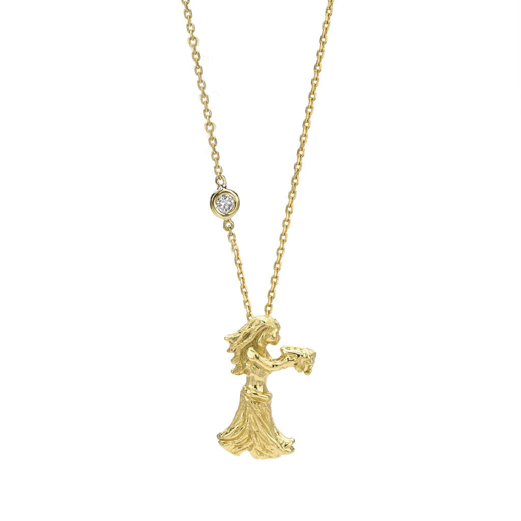 Aquarius Zodiac Necklace in 18kt Gold - USE CODE THEEND50 TO BUY FOR $359