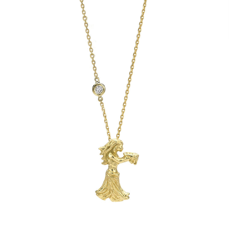 Aquarius Zodiac Necklace (Jan. 20 - Feb. 19) - 18kt Gold