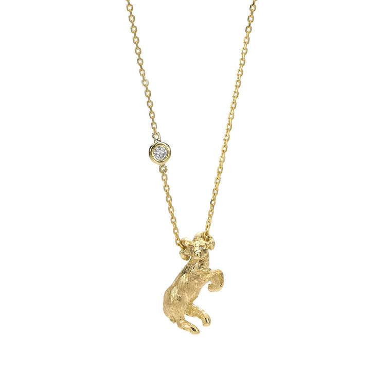 *SPECIAL ORDER ONLY* Aries Zodiac Necklace (Mar. 21 - Apr. 20) - 18kt Gold - Only a $697.50 deposit!