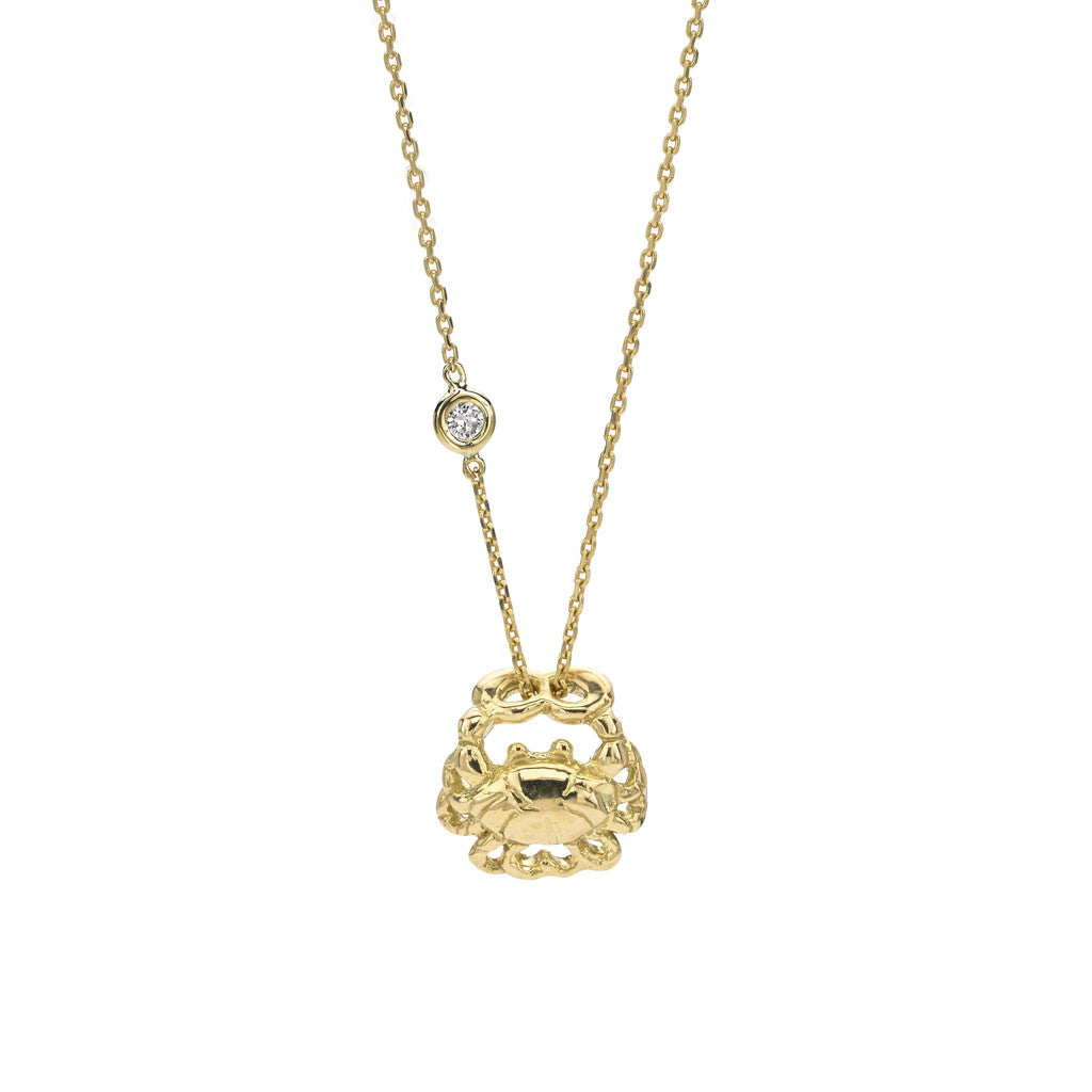 Cancer Zodiac Necklace - 18kt Gold