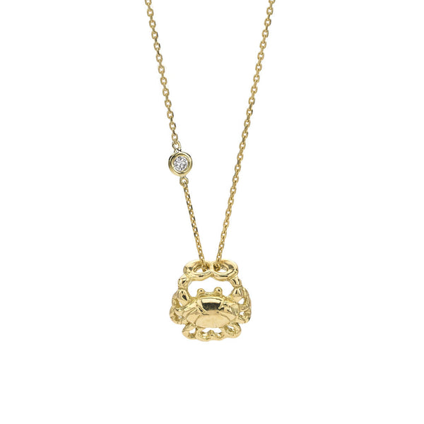 Cancer Zodiac Necklace - 18kt Gold - USE CODE SPRING30 FOR AN EXTRA 30% OFF