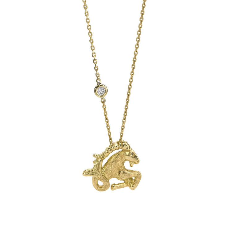 Capricorn Zodiac Necklace (Dec. 22-Jan. 19) - 18kt Gold